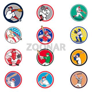 Cartoon Baseball Icon Collection