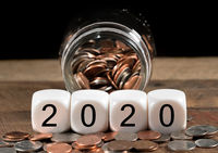 Calendar for 2020 New Year holiday background with cash savings
