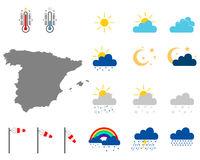 Karte von Spanien mit Wettersymbolen - Map of Spain with weather symbols