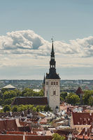 View of the wall surrounding center of the city of Tallinn in Estonia and Alexander Nevsky Cathedral.