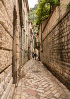 Narrow streets in the Old Town of Kotor in Montenegro
