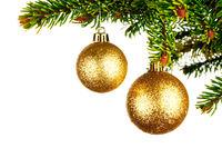 Decorative balls on fir branch