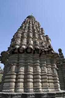 Shikhara details, sangameshwar temple from the period of Peshwas in basalt stone masonry at Saswad, Pune