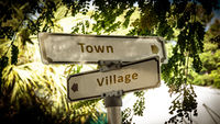 Street Sign Town versus Village