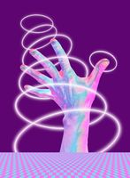 Collage of contemporary art with bright fluorescent neon colorful hands.