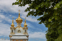View of famous landmark of Peterhof Palace close to city of St. Petersburg in Russia