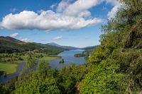 View over scottish loch with mountains