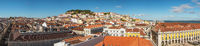 Lisbon Portugal aerial view panorama city skyline at Lisbon Baixa district