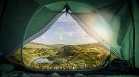 camping in scottish landscape