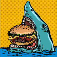 Hungry shark eating a Burger. fast food restaurant concept