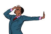 African American businessman. shame denial gesture no
