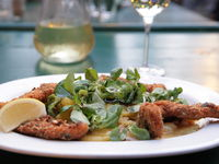 Typical authentic food and white wine in Vienna/ Austria at an inn which is also called Heuriger