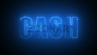 Cash text with visual effect of electricity and illumination, 3d rendering computer generated