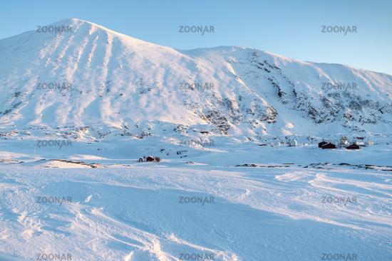 Winter landscape, Hasvik, Soeroeya Island, Finnmark, Norway