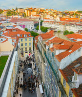 Cityscape of Lisbon downtown at sunset