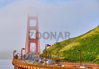 Golden Gate Bridge view at foggy morning