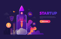Start up business concept for mobile app development or other disruptive digital business ideas. Cartoon rocket launching from smart phone tablet