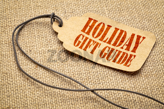 Holiday gift guide text on a price tag