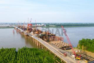 bridge construction site on yangtze river