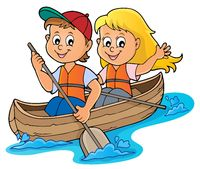 Kids in boat theme image 1