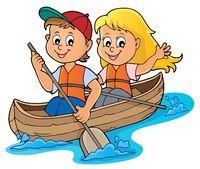 Kids in boat theme image 1