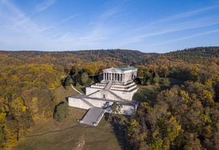 Aerial view of the Walhalla memorial, a hall of fame in the Bavaria