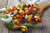 Grilled skewers with mixed vegetables