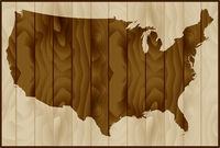 Vector illustration of USA map on wood background