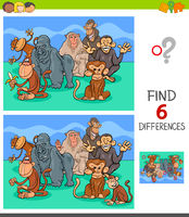 differences game with monkeys animal characters