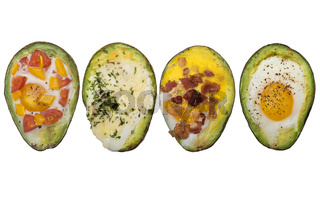Baked avocado with eggs on white background