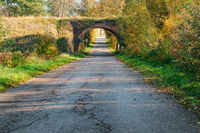 old arched overpass over the road, yellowed trees in autumn along the road