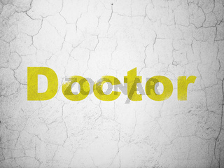 Health concept: Doctor on wall background