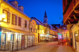 Historic old Tkalciceva street of Zagreb evening view