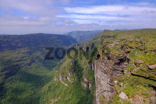 View of landscape at Cachoeira Da Fumaca, Smoke Waterfall, in Vale Do Capao, Chapada Diamantina National Park, Brazil