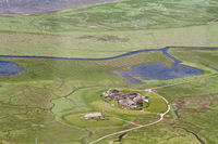 Hallig Hooge, Aerial Photo of the Schleswig-Holstein Wadden Sea National Park in Germany