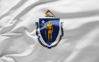 Waving state flag of Massachusetts - United States of America