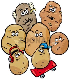 potatoes vegetable family cartoon illustration