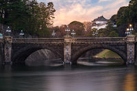 TOKYO, JAPAN - 15 FEB 2018: Seimon Stonebridge and Tokyo Imperial Palace long exposure shot at sunset