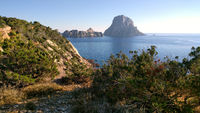 Picturesque view of the mysterious island of Es Vedra. Ibiza Island, Balearic Islands. Spain