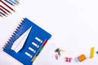 flat lay, back to school , copy space, workspace, educational process