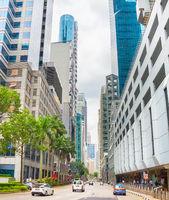 Traffic at Singapore Downtown street