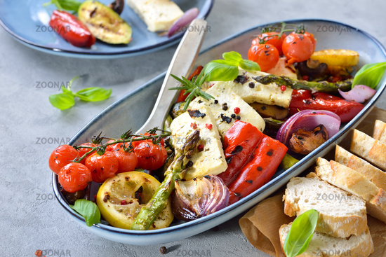 Mixed vegetables with feta cheese