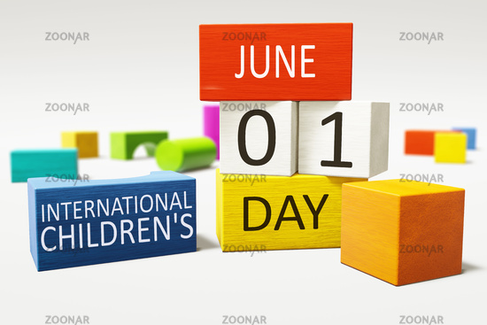 International Children's Day first of June with colorful building blocks