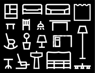 Multiple white furniture icons isolated on black.