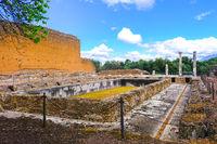 Peschiera fishpond ruins in roman archaeological site of VIlla Adriana or Hadrian Villa in Tivoli Rome - Lazio - Italy