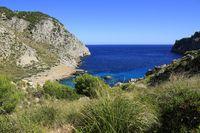 beautiful beach with turquoise sea water, Cala Figuera, Majorca, Spain