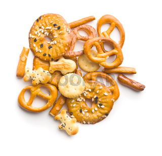 Mixed salty snack crackers and pretzels.