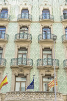 Facades and traditional architecture in the old town of Barcelona, Spain