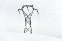 Electric power lines in snow