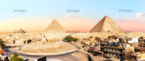 Panorama of Giza Pyramids, view from the buildings, Egypt